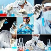 Kollaasi ihmisiä lääketieteen yhtenäinen työskentelee laboratoriossa Kuvituskuvat