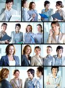 Business collage composed of nine photos of successful and positive business wom Stock Photos