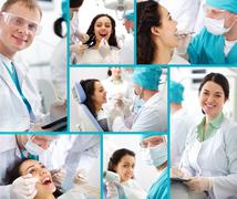 Medical collage composed of photos on a dentistry topic Stock Photos