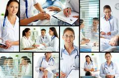 collage of medical staff working with patient, filling the blanks and carrying o - stock photo