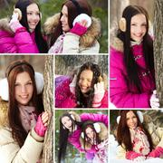 collage of two pretty girls spending time in winter park - stock photo