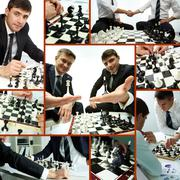 Collage of successful businessmen playing chess and chess pieces Stock Photos