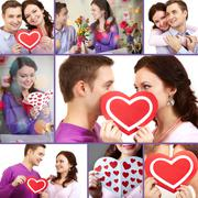 collage of a young happy couple of valentines - stock photo