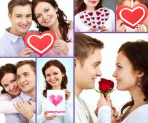 Collage of happy and amorous people on st. valentine day Stock Photos