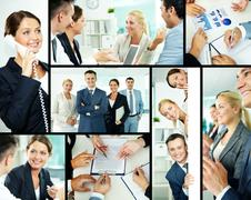portrait of business partners looking at camera with smiles - stock photo