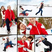 collage of happy couple having great winter vacations - stock photo