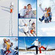 Collage of happy mature couple on winter resort Stock Photos