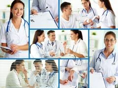 Collage of practitioners and patients in hospital Stock Photos