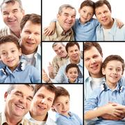 collage of a father, grandfather and son on white background - stock photo