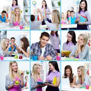 Collage of students at college learning and eating Stock Photos