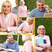 collage of mature man and woman during training course - stock photo