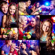 collage of happy friends having fun at party - stock photo