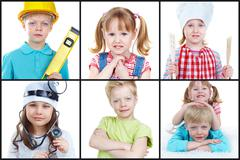 collection of images of cute kids, boy and two girls - stock photo