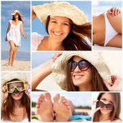 Cheerful girl enjoying her summer vacation on the beach Stock Photos