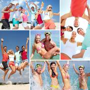 Collage of happy friends spending summer vacation at the seaside Stock Photos