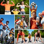 collage of happy family going in for sports - stock photo