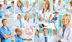 Collage of successful clinicians in hospital Stock Photos