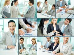 Collage of businesspeople working in office Stock Photos