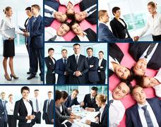 Collage of business people interacting at meeting and posing in front of camera Stock Photos