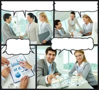 Collage of businesspeople interacting in office with speech bubbles above their Stock Photos