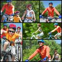 Collage of happy family riding on bicycles at leisure Stock Photos