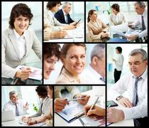 collage of mature businessman and females at work - stock photo