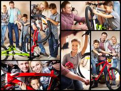 Collage of image of happy family in garage Stock Photos