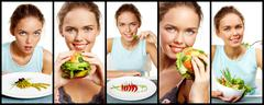 Collage of pretty young girl with vegetable salad, fruit burger and pea starter Stock Photos