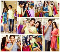 Collage of romantic couple with shopping bags spending time in the mall Stock Photos