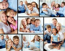 Collage of happy family resting at home Stock Photos