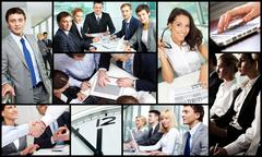 Collage of successful business people during work Stock Photos