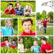 Collage of cute children having rest in summer Stock Photos