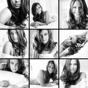 Collage of posh young woman posing in front of camera Stock Photos
