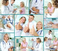 collage of confident practitioners and patient in hospital - stock photo
