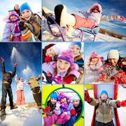 Collage of happy kids in winterwear having fun outside Stock Photos