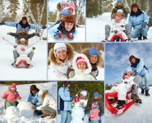 Happy kids and their parents spending leisure in winter park Stock Photos