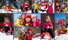 Collage of happy friends in winterwear having fun outside Stock Photos