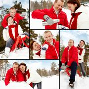 Collage of happy couple enjoying winter vacation outside Stock Photos