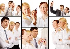 Collage of business team during marketing analysis Stock Photos