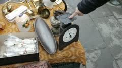 Antique Fair - Flea market Metal balance, Silver Tableware - stock footage