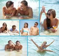 collage of cute couple enjoying themselves on summer vacation - stock photo