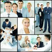 photo collection of successful businesspeople working in team - stock photo