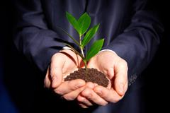 Unrecognizable person in formal suit holding a handful of soil with a sprout Stock Photos