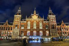 Central Station in Amsterdam Stock Photos