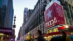 Tourist walking by Macy's on 34th Street and Christmas shopping in New York City Stock Footage