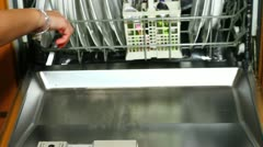 Cleaning dish washer Stock Footage