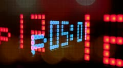 LED clock counter, alarm time, numbers Stock Footage