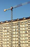 tall building construction site - stock photo