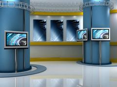 Virtual set studio tv chroma Stock Illustration