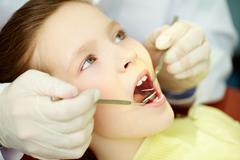 Patient with opened mouth being examined by a dentist Stock Photos